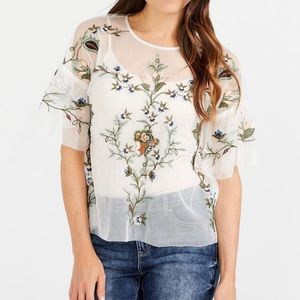 🌿Embroidered Sheer Top🌿